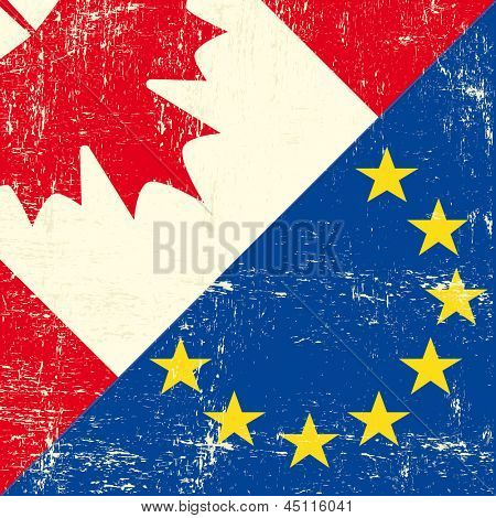 Canadian and european grunge Flag. this flag represents the relationship  between european union and Canada