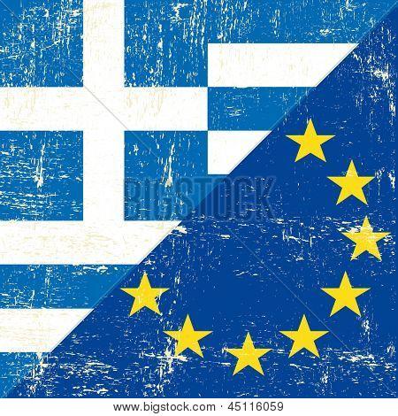 Greek and european grunge Flag. flag of european union members