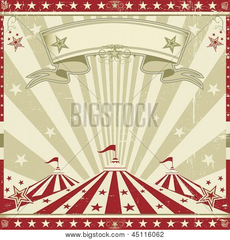Square vintage red circus. a circus vintage leaflet for your advertising