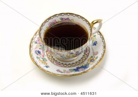 Ornate China Cup Of Coffee On White