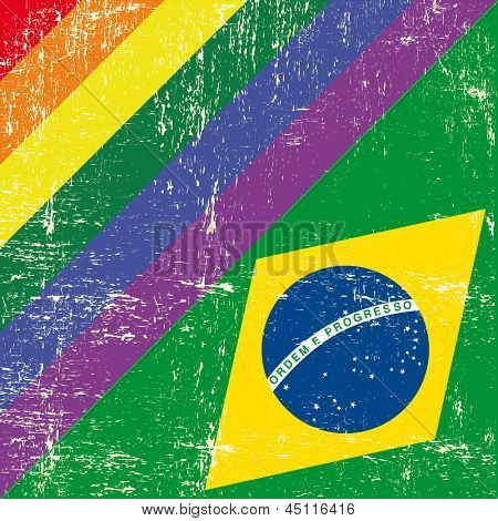 Brazil and gay grunge Flag. Mixed grunge gay flag with brazilian flag.