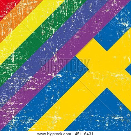 Swedish and gay grunge Flag Mixed grunge gay flag with swedish flag.