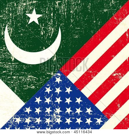 Pakistan und USA Grunge Flag. Dieses Flag stellt die Beziehung zwischen der Pakistan und die U