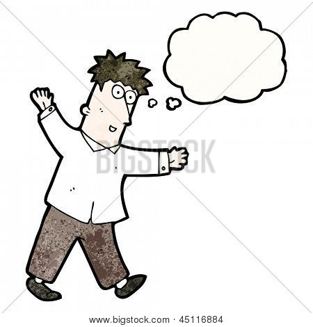 cartoon enthusiastic man with thought bubble
