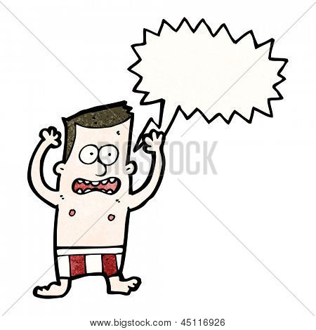 cartoon embarrassed man in underpants