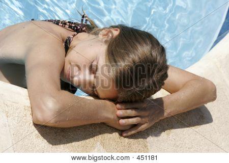 Model  Relaxing Poolside