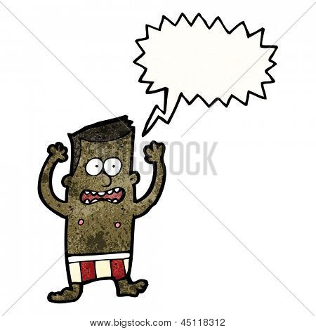 cartoon embarrassed man in underpants