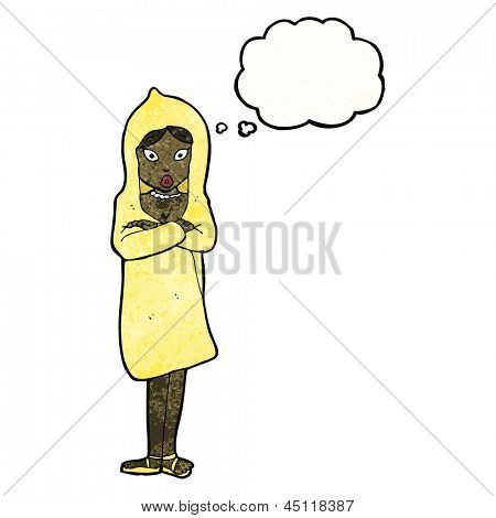 cartoon woman in raincoat