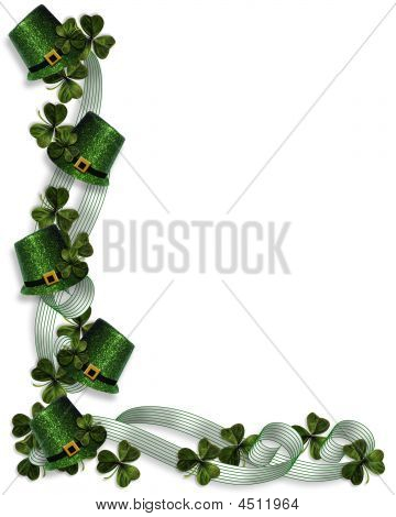 St Patricks Day Border Hats And Ribbons