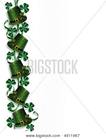 St Patricks Day Border Hats Ribbons