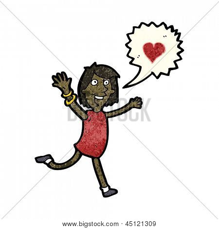 cartoon woman declaring her love