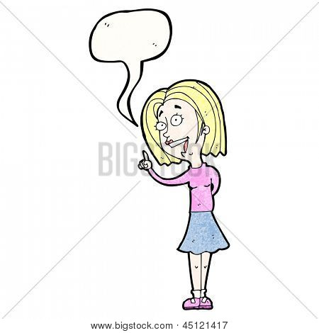 cartoon blond woman answering question