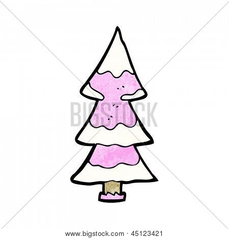 pink chirstmas tree cartoon
