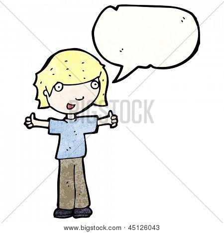 menino de desenhos animados, dando thumbs up sinal