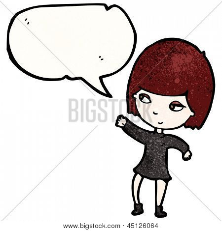 cartoon goth girl with speech bubble