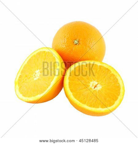 Orange and two riped side fruit on white background.