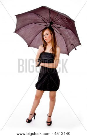 Front View Of Woman Holding Umbrella