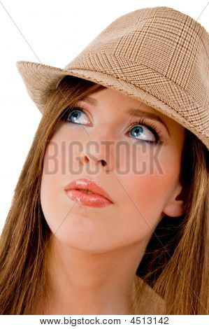 Close View Of Young Model Wearing Hat