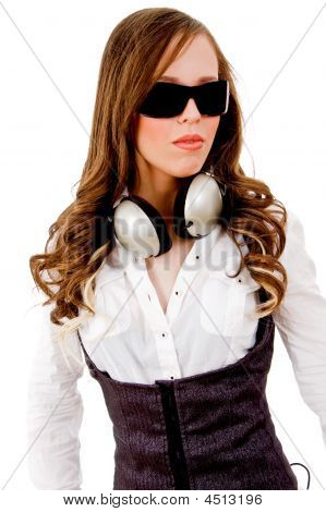Front View Of Young Beautiful Model With Headphone