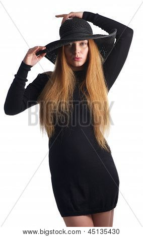 Portrait Of A Young Woman In Black Hat
