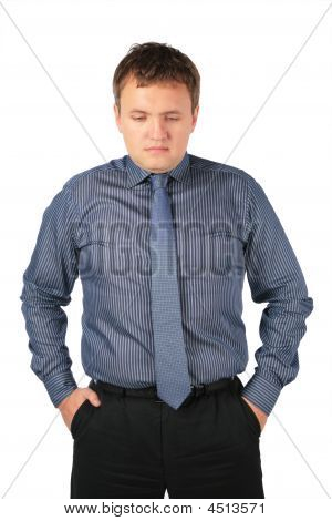 Serious Fat Man Stands Hands In Pockets