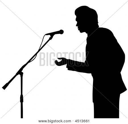 Discurso de silueta de hombre para micrófono