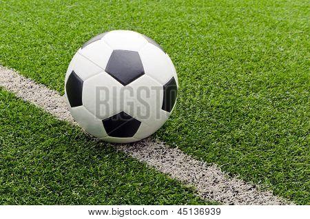 Soccer football field stadium on the beside line.