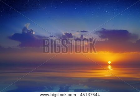 Beautiful sunset over water