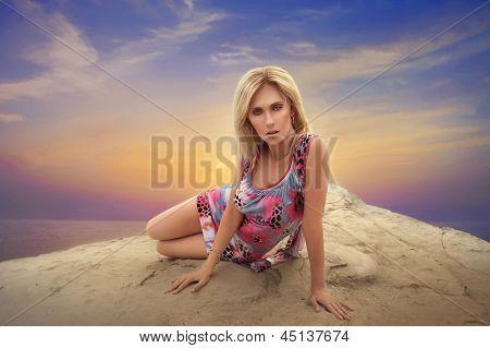 European Woman At Sunset