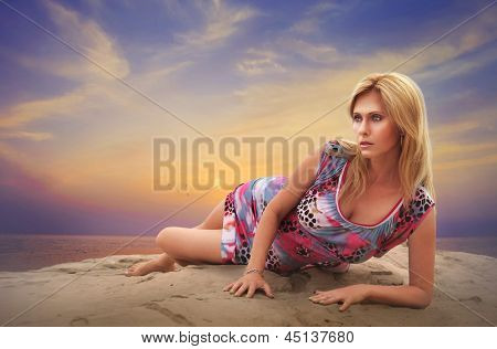 Beauty Woman At Sunset
