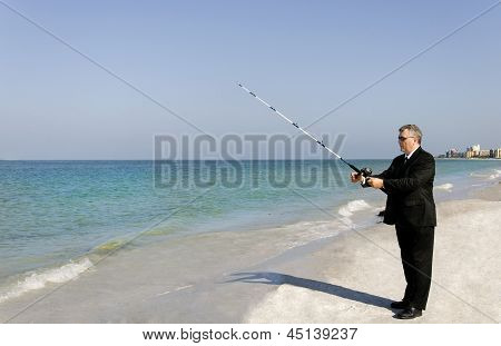 Business Man Fishing
