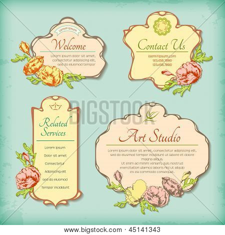 Set Of Vintage Antique Styled Labels With Flowers