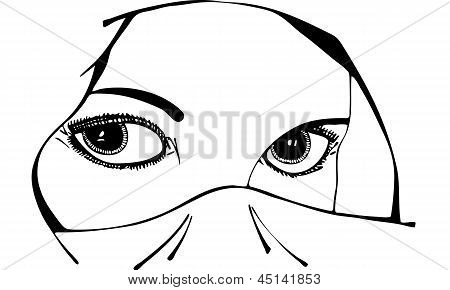 Black and white isolated vector illustration of a woman's eyes and face under a religious headscarf