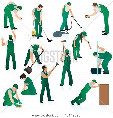 Set O Thirteent Professional Cleaners In Green Uniform.eps