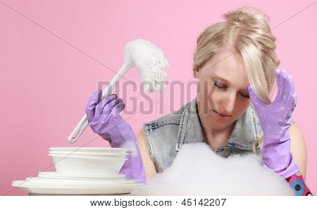 Cute Blond Woman Washing Dishes