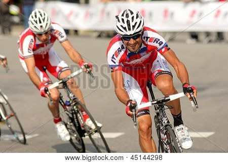 BARCELONA - MARCH, 24: Giampaolo Caruso of Katusha Team during the Tour of Catalonia cycling race through the streets of Monjuich mountain in Barcelona on March 24, 2013