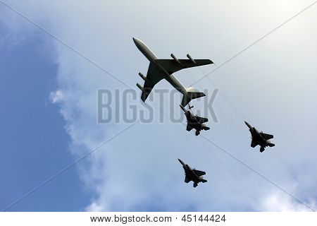 Tel Aviv, Israel - April  16: Israeli Air Force Airplanes (four-engine Turboprop Powered Refueling T