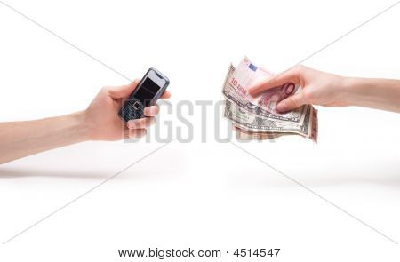 Two Hands With A Phone And Money