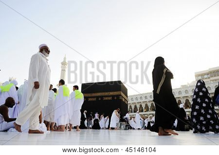 MECCA, SAUDI ARABIA - MAY 24: Muslim pilgrims, from all around the World, are circumambulating the Kaaba on May 24, 2012 in Mecca, Saudi Arabia.
