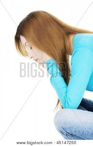 Retrato de mulher deprimida triste, sobre fundo branco