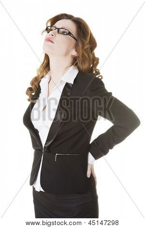 Business woman with back pain after long work on chair. Isolated on white background