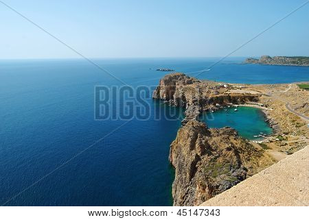 View Of Lindos St.pauls Bay From Acropolis, Rhodes, Greece