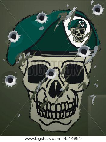 Retro Schädel und Beret militärischen Motiv