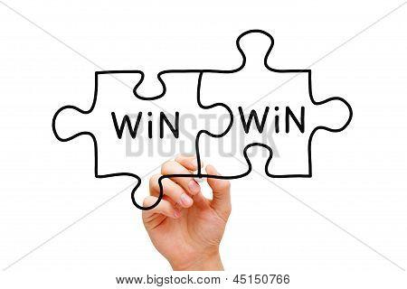 Conceito de quebra-cabeça do Win Win