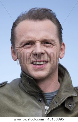 BERLIN - APR 28: Simon Pegg at the Star Trek - Into Darkness Photo Call on April 28, 2013 in Berlin, Germany