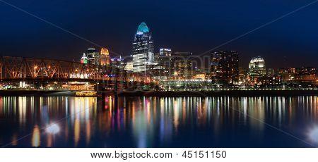 CINCINNATI 2013 DECEMBER 18 2012: The skyline of Cincinnati, Ohio at night, December 18, 2012. Cincinnati metropolitan area is 27th largest in USA and biggest in Ohio