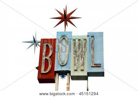 An old retro Neon Bowling alley sign isolated on white with room for your text with the colors of red, blue, green and turquoise