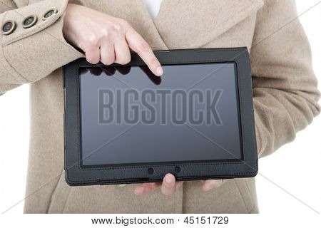 Woman holding a digital tablet, isolated, detail