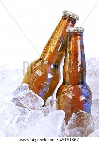 Two Alcohol Brown Glass Beer Bottles On White