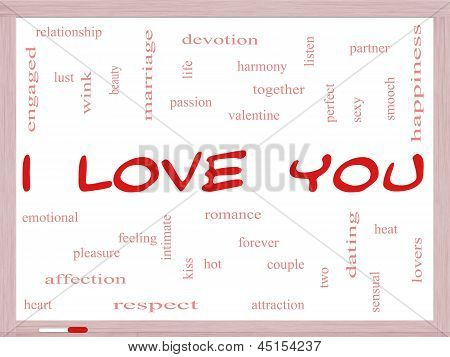 I Love You Word Cloud Concept On A Whiteboard